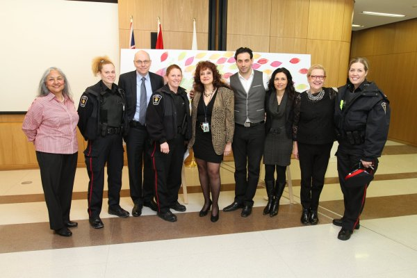 Sunder Singh, executive director, Elspeth Heyworth Centre for Women, Dr. Angela Mailis and other special guests at the International Women's Day celebration at Vaughan City Hall.