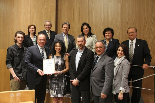 Mayor Maurizio Bevilacqua and Members of Council with Ward 2 Civic Hero Raffaela Bozzato. Photo: City of Vaughan