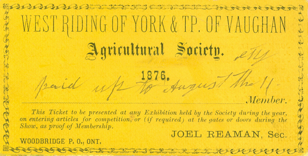 1876 Membership Card for Woodbridge Agricultural Society