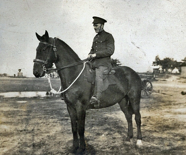 Lt. (later maj.) Mackenzie pictured on horseback while serving with the 4th Canadian Mounted Rifles at the beginning of the First World War.