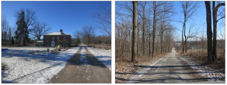 Pictured right is the William Cook House and left is the MacMillan Farm principle laneway. The historical house was built in 1847 and was resided by the Cook family for decades until 1936.