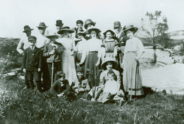 Picnic in the flats at Elder's Dam, ca. 1914