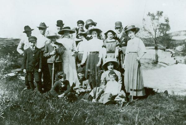 Picnic in the flats at Elder's Dam, ca. 1914